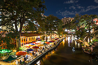 San Antonio river walk at night was just such a nice view it was hard not to take another shot. Love the river walk at night.