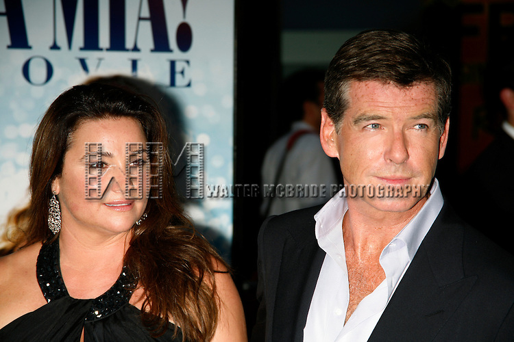 Pierce Brosnan & Keely Shaye Smith.arriving for the American Premiere of MAMMA MIA! The Movie at the Ziegfeld Theatre in New York City..July 16, 2008.© Walter McBride /