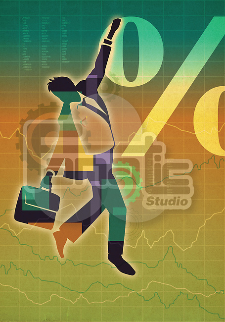 Illustrative image of businessman walking on line graph representing risk