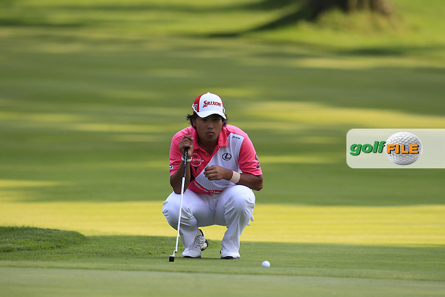 Hideki MATSUYAMA (JPN) lines up his putt on the 16th green during Friday's Round 2 of the WGC Bridgestone Invitational, held at the Firestone Country Club, Akron, Ohio.: Picture Eoin Clarke, www.golffile.ie: 1st August 2014
