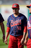 Peoria Chiefs Rayder Ascanio (18) before a game against the Bowling Green Hot Rods on September 15, 2018 at Bowling Green Ballpark in Bowling Green, Kentucky.  Bowling Green defeated Peoria 6-1.  (Mike Janes/Four Seam Images)
