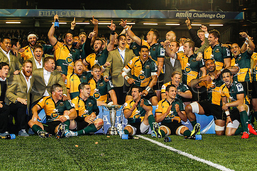 23.05.2014.  Cardiff, Wales.  Northampton Saints players celebrate their victory in the Amlin Challenge Cup final between Bath Rugby and Northampton Saints at Cardiff Arms Park.    Final score: Bath Rugby 16-30 Northampton Saints.
