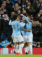 Manchester City's Sergio Aguero celebrates with team-mates after scoring his side's second goal<br /> <br /> Photographer Rich Linley/CameraSport<br /> <br /> UEFA Champions League Round of 16 Second Leg - Manchester City v FC Schalke 04 - Tuesday 12th March 2019 - The Etihad - Manchester<br />  <br /> World Copyright © 2018 CameraSport. All rights reserved. 43 Linden Ave. Countesthorpe. Leicester. England. LE8 5PG - Tel: +44 (0) 116 277 4147 - admin@camerasport.com - www.camerasport.com