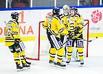 Huddinge 2015-09-20 Ishockey Division 1 Huddinge Hockey - S&ouml;dert&auml;lje SK :  <br /> S&ouml;dert&auml;ljes m&aring;lvakt Calle Brattenberger , Robin Nilsson , Jonas Vidlund och Jonas Westerling jublar efter slutsignalen och segern i matchen mellan Huddinge Hockey och S&ouml;dert&auml;lje SK <br /> (Foto: Kenta J&ouml;nsson) Nyckelord:  Ishockey Hockey Division 1 Hockeyettan Bj&ouml;rk&auml;ngshallen Huddinge S&ouml;dert&auml;lje SK SSK jubel gl&auml;dje lycka glad happy