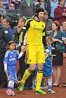Chelsea captain Petr Cech leads out the team..Manchester City defeated Chelsea 4-3 in an international friendly at Busch Stadium, St Louis, Missouri.