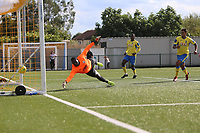 Lionel Stone of Haringey (OOP) scores and celebrates during Haringey Borough vs Herne Bay, Emirates FA Cup Football at Coles Park Stadium on 7th September 2019