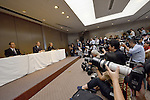 July 21, 2015, Tokyo, Japan - Toshiba President Hisao Tanaka, center, accompanied by two top executives, announces his resignation, taking responsibility for his part in manipulating deceptive accounting during a news conference at its headquarters in Tokyo on Tuesday, July 21, 2015. The Japanese electronics and electrical equipment group's manipulated profits add up to 1.25 billion dollars from fiscal 2008 through December 2014. (Photo by Natsuki Sakai/AFLO) AYF -mis-