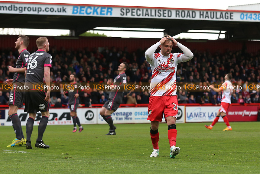 Matthew Godden of Stevenage reacts after he goes close to a goal during Stevenage vs Morecambe, Sky Bet EFL League 2 Football at the Lamex Stadium on 14th April 2017