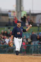 A.J.Reed (40) of the Lancaster JetHawks in the field during a game against the San Jose Giants at The Hanger on April 11, 2015 in Lancaster, California. San Jose defeated Lancaster, 8-3. (Larry Goren/Four Seam Images)