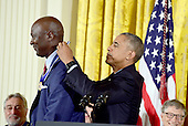 United States President Barack Obama presents the Presidential Medal of Freedom to former NBA star Michael Jordan during a ceremony in the East Room of the White House in Washington, DC on Tuesday, November 22, 2016.  The Presidential Medal of Freedom is the Nation's highest civilian honor.<br /> Credit: Ron Sachs / CNP