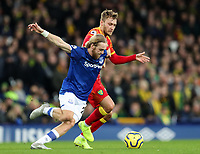23rd  November 2019; Goodison Park , Liverpool, Merseyside, England; English Premier League Football, Everton versus Norwich City; Tom Trybull of Norwich City and Tom Davies of Everton compete for the ball - Strictly Editorial Use Only. No use with unauthorized audio, video, data, fixture lists, club/league logos or 'live' services. Online in-match use limited to 120 images, no video emulation. No use in betting, games or single club/league/player publications