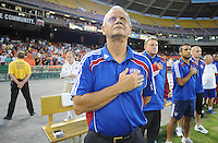 FC Dallas Head Coach Schellas Hyndman.  FC Dallas defeated DC United 3-1 at RFK Stadium, Saturday August 14, 2010.