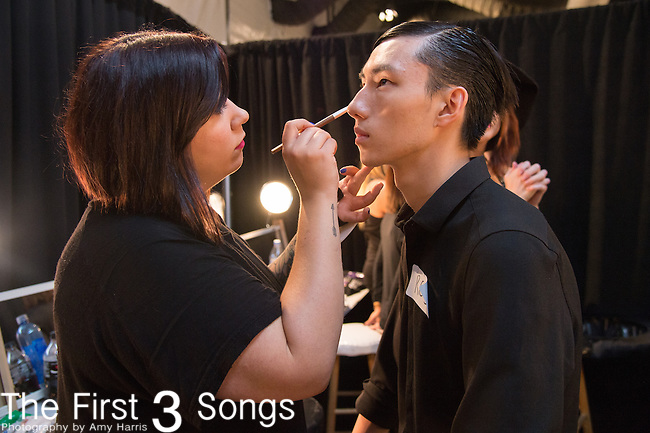 A general view of atmosphere backstage at the Concept Korea fashion show during Mercedes-Benz Fashion Week Spring 2015 at The Pavilion at Lincoln Center in New York City.
