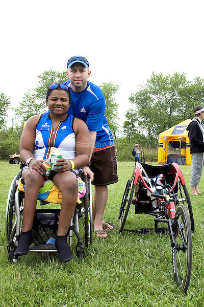 Minda and her boyfriend Shawn after the New Jersey Devilman Triathlon on May 5, 2012 in Cumberland County, New Jersey.