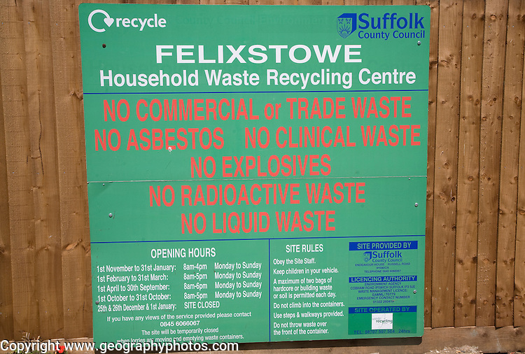 Recycling rules Household Waste centre, Felixstowe, Suffolk