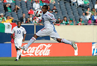 Cuba's Roberto Linares leaps for a header.  El Salvador defeated Cuba 6-1 at the 2011 CONCACAF Gold Cup at Soldier Field in Chicago, IL on June 12, 2011.
