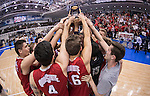 07 MAY 2016: Ohio State University teammates celebrate and hoist the trophy up during the Division I Men's Volleyball Championship is held at Rec Hall on the Penn State University campus in University Park, PA.  Ohio State defeated BYU 3-1 for the national title.  Ben Solomon/NCAA Photos