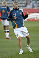 Los Angeles Galaxy midfielder (23) David Beckham during warm up prior to an MLS regular season match against the Colorado Rapids at Dicks Sporting Goods Park in Commerce City, Colorado on March 29, 2008. The Rapids defeated the Galaxy 4-0.