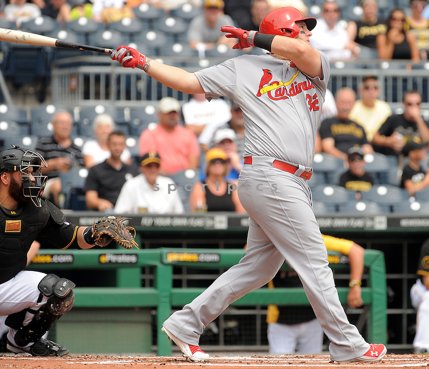 St. Louis Cardinals Matt Adams (32) during a game against the Pittsburgh Pirates on August 27, 2014 at PNC Park in Pittsburgh PA. The Pirates beat the Cardinals 3-1.