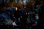 Mallory Badilla, eight months pregnant, in her camp near the SafeGround camp in Sacramento, Calif., January 14, 2011.