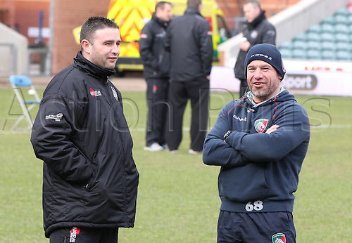 06.03.2016. Welford Road, Leicester, England. Aviva Premiership. Leicester Tigers versus Exeter Chiefs.  Tigers Director of Rugby Richard Cockerill having time with Exeters Media Manager  Mark Stevens ahead of taking team warm-up