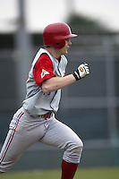 Adam Lind of the South Alabama Jaguars runs to first base during a game against the Southern California Trojans at Dedeaux Field on February 1, 2003 in Los Angeles, California. (Larry Goren/Four Seam Images)