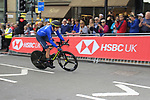Edoard Affini (ITA) in action during the Men Elite Individual Time Trial of the UCI World Championships 2019 running 54km from Northallerton to Harrogate, England. 25th September 2019.<br /> Picture: Andy Brady | Cyclefile<br /> <br /> All photos usage must carry mandatory copyright credit (© Cyclefile | Andy Brady)