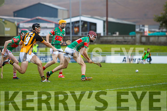 Donal Hunt Crotta O'Neills scores a last minute goal to win   the Minor Hurling County Final despite the attentions of Niall O'Mahony Abbeydorney/Tralee Parnells at Austin Stack Park on Sunday.
