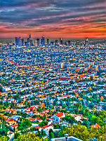 Los Angeles, CA, Cityscape, Sunset, Skyline, Twilight, HDR High dynamic range imaging (HDRI or HDR)