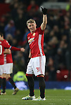 Bastian Schweinsteiger of Manchester United gives the thumbs up following his cameo appearance during the English League Cup Quarter Final match at Old Trafford  Stadium, Manchester. Picture date: November 30th, 2016. Pic Simon Bellis/Sportimage