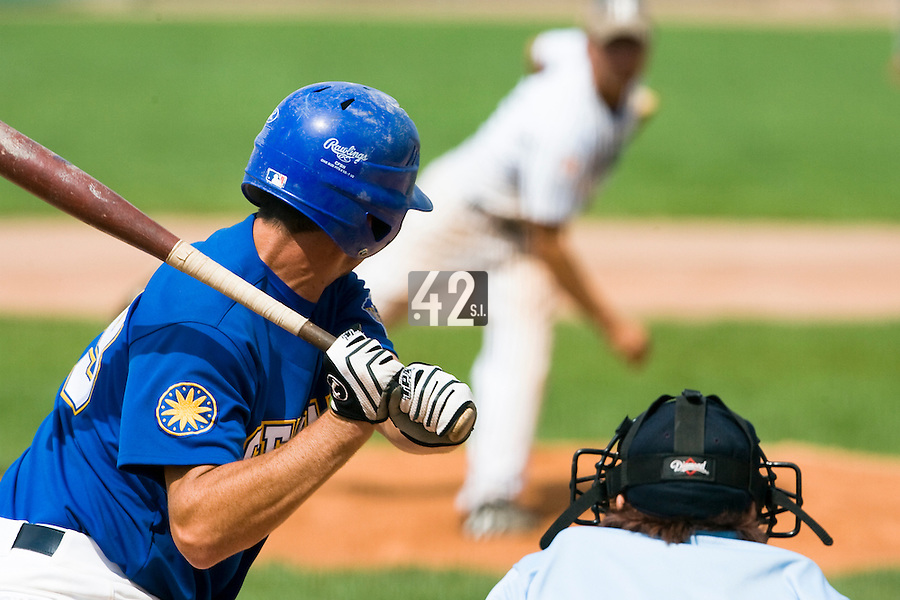 12 Aug 2007: Senart's player is seen at bat during game 5 of the french championship finals between Templiers (Senart) and Huskies (Rouen) in Chartres, France. Huskies defeated Templiers 9-8 to win their fourth french championship.