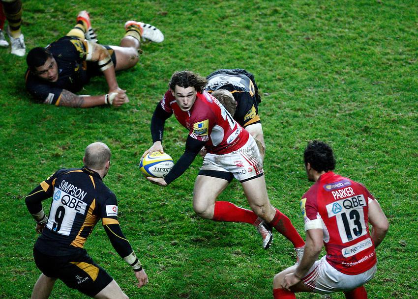 Photo: Richard Lane/Richard Lane Photography. London Welsh v London Wasps. 29/12/2012. Welsh's Tom Arscott attacks.