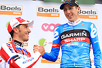 Dan Martin (IRL) Garmin Sharp wins the 2013 Liege-Bastogne-Liege race with Joaquin Rodriguez (ESP) Katusha in 2nd place. 21st April 2013.<br />