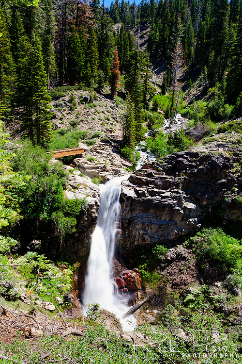 Mill Creek Falls in Lassen Volcanic National Park. The 75 foot waterfall is at the junction of East Sulpher and Bumpass Creeks.