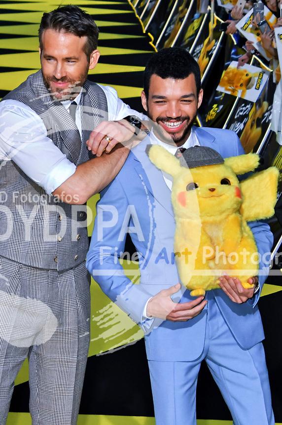 Ryan Reynolds und Justice Smith bei der Weltpremiere des Kinofilms 'Pokémon Detective Pikachu / Pokémon Meisterdetektiv Pikachu' in Kabukicho. Tokio, 24.04.2019