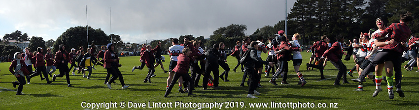 Scots players and fans celebrate winning the Wellington 1st XV premier rugby final between Scots College and St Patrick's College Silverstream at Porirua Park in Wellington, New Zealand on Sunday, 18 August 2019. Photo: Dave Lintott / lintottphoto.co.nz
