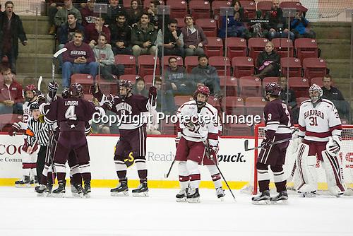 Kevin Lough (Colgate - 4), Tim Harrison (Colgate - 19) -  - The Harvard University Crimson defeated the visiting Colgate University Raiders 7-4 (EN) on Saturday, February 20, 2016, at Bright-Landry Hockey Center in Boston, Massachusetts.
