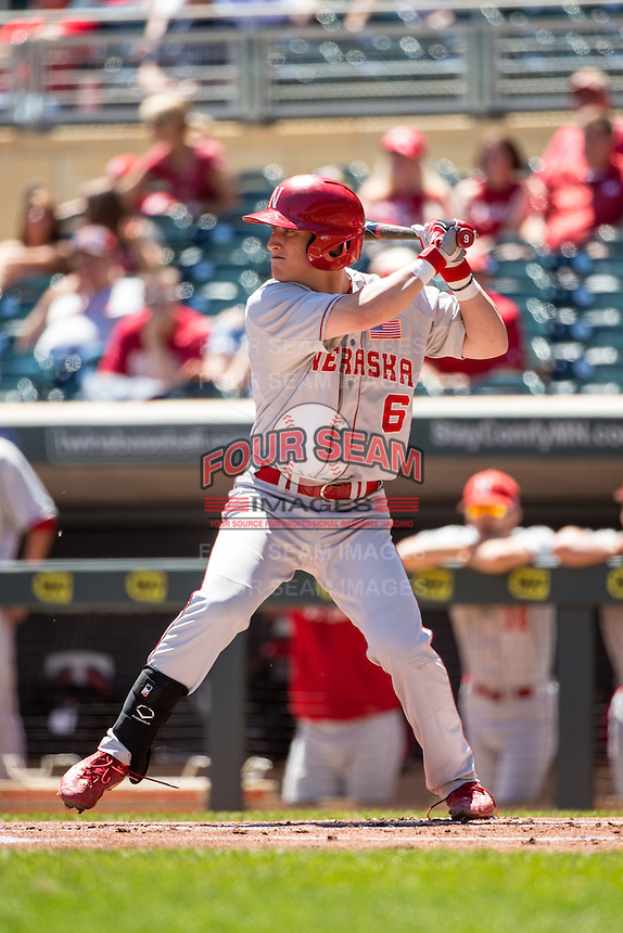 Jake Schleppenbach (6) bats during a 2015 Big Ten Conference Tournament game between the Nebraska Cornhuskers and Michigan State Spartans at Target Field on May 20, 2015 in Minneapolis, Minnesota. (Brace Hemmelgarn/Four Seam Images)