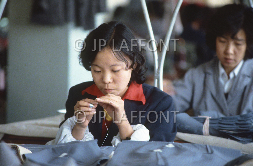 "October 1984. Near Beijing, the huge ""Friendship"" factory employed 2.000 workers to produce woman's clothes."