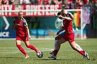 Portland, OR - Saturday August 05, 2017: Dagný Brynjarsdóttir, Carli Lloyd, Lindsey Horan during a regular season National Women's Soccer League (NWSL) match between the Portland Thorns FC and the Houston Dash at Providence Park.