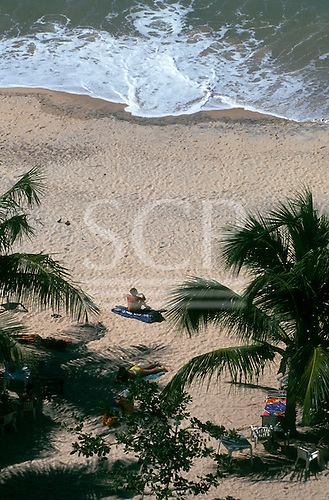 Pipa, Northeast Brazil. Looking down on unspoilt beach with palm trees; people sunbathing by the sea.