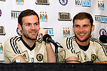 22 May 2013:  Juan Mata (10)(ESP)(left) and Branislav Ivanovic (2)(SRB)(right) at press conference.  Chelsea F.C. practice session in preparation for an exhibition match against Manchester City at Busch Stadium in Saint Louis, Missouri.
