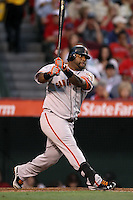 Pablo Sandoval #48 of the San Francisco Giants bats against the Los Angeles Angels at Angel Stadium on June 18, 2012 in Anaheim, California. San Francisco defeated Los Angeles 5-3. (Larry Goren/Four Seam Images)