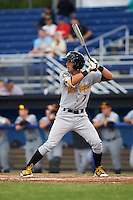 West Virginia Black Bears shortstop Erik Forgione (7) at bat during a game against the Batavia Muckdogs on June 28, 2016 at Dwyer Stadium in Batavia, New York.  Batavia defeated West Virginia 3-1.  (Mike Janes/Four Seam Images)