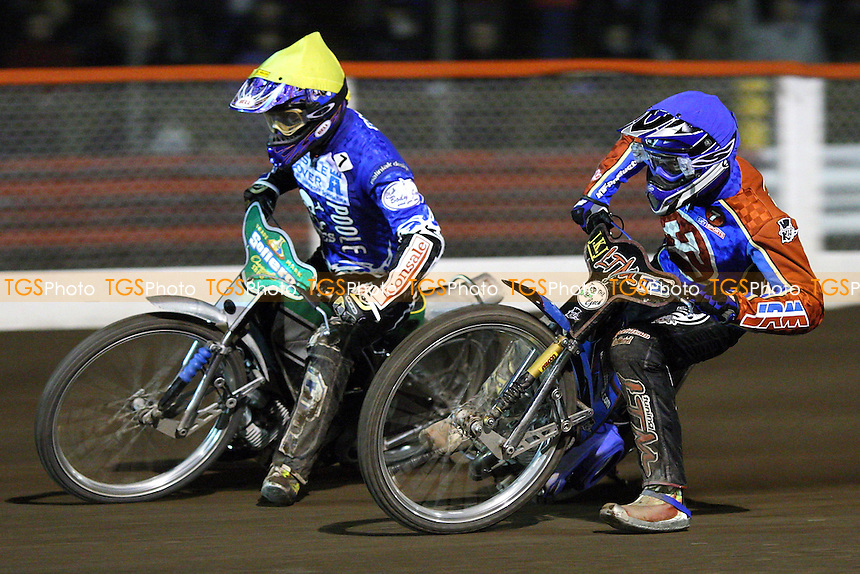Heat 8: Lubos Tomicek (blue) chases Freddie Eriksson - Lakeside Hammers vs Poole Pirates - Spring Trophy 2nd Leg at Arena Essex Raceway - 14/03/08 - MANDATORY CREDIT: Gavin Ellis/TGSPHOTO. Self-Billing applies where appropriate. NO UNPAID USE. Tel: 0845 094 6026