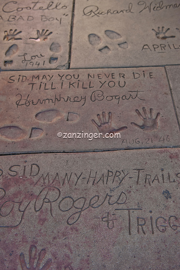 Humphry Bogart, Roy Rogers,  Hand - Footprint, Impressions, Grauman's, Chinese, Theater, Hollywood, CA