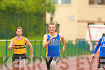 Conal O'Callaghan Spa/Muckross leads Paudie Whelan Tralee Harriers, John Corr Leevale in 100 metres in the Junior and Master Athletic championships at An Riocht, Castleisland on Wednesday evening.