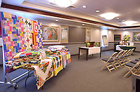 STAFF PHOTO BEN GOFF  @NWABenGoff -- 09/19/14 Quilts hang on display in the Relief Society Room in the new Bella Vista Chapel of The Church of Jesus Christ of Later-day Saints in Bella Vista during an open house on Friday September 19, 2014.