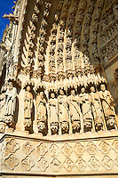 Tympanum of central west portal: scenes of the Day of Judgement, supported by an array of saints.  Gothic Cathedral of Notre-Dame, Amiens, France