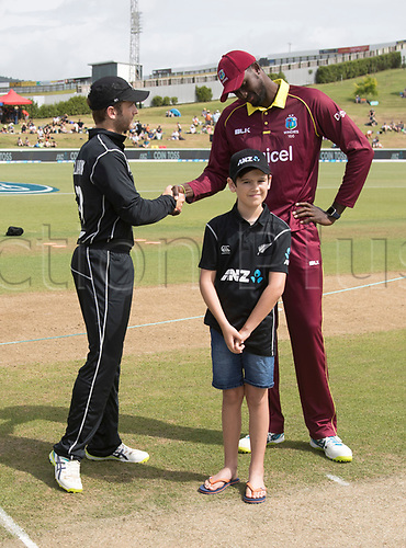 20th December, 2017, Whangarei, New Zealand;  ANZ Coin Toss winner James Bailey with Kane Williamson and James Holder. New Zealand Black Caps versus West Indies, first One Day International cricket, Cobham Oval, Whangarei, New Zealand. Wednesday, 20 December, 2017.